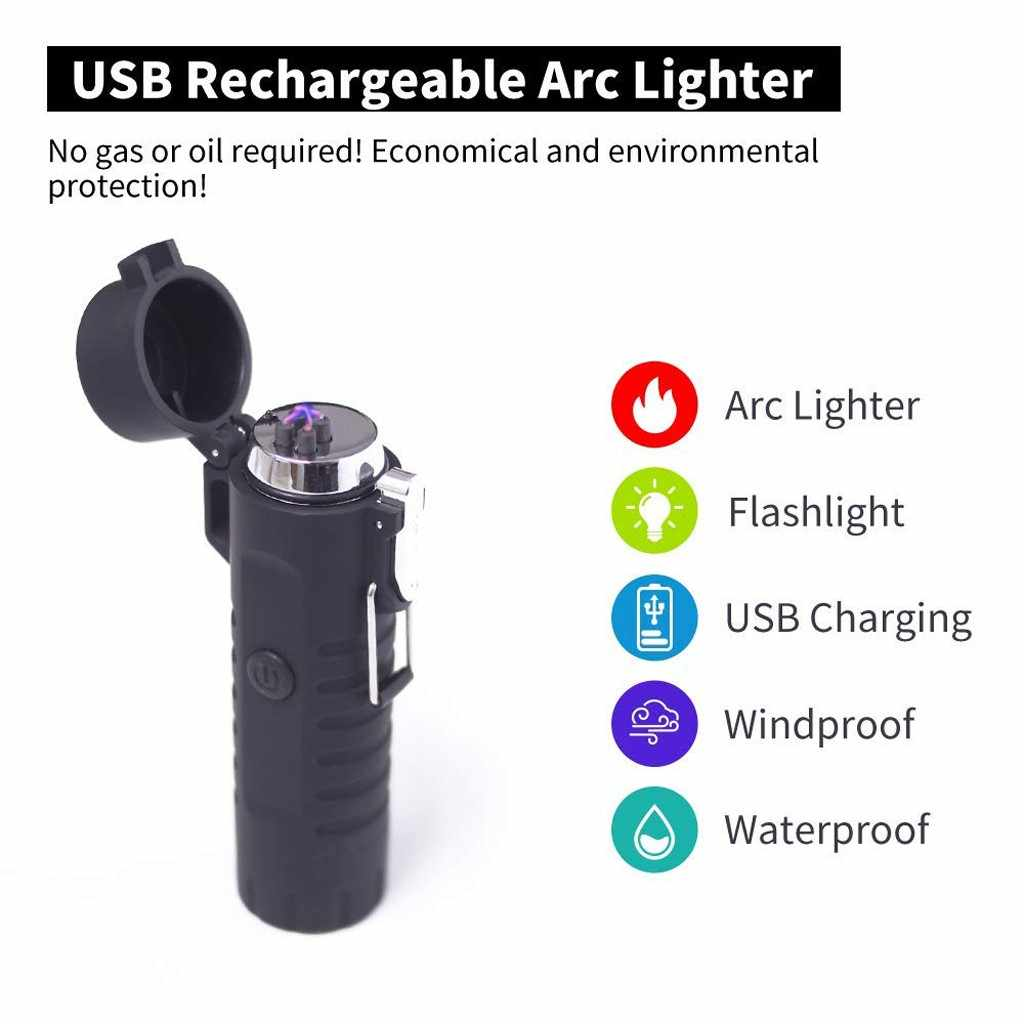 Electric Lighter Flashlight Portable LED Lighter Flashligh For Outdoor Camping Torch Light Non-adjustable 18650 Rechargeable