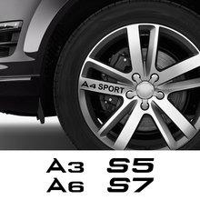 4PCS Car Wheel Rim Stickers For Audi A3 8P A4 B8 A6 S1 S2 S3 S4 S5 S6 S7 S8 SQ5 SQ7 Auto Accessories Vinyl Film Refective Decal