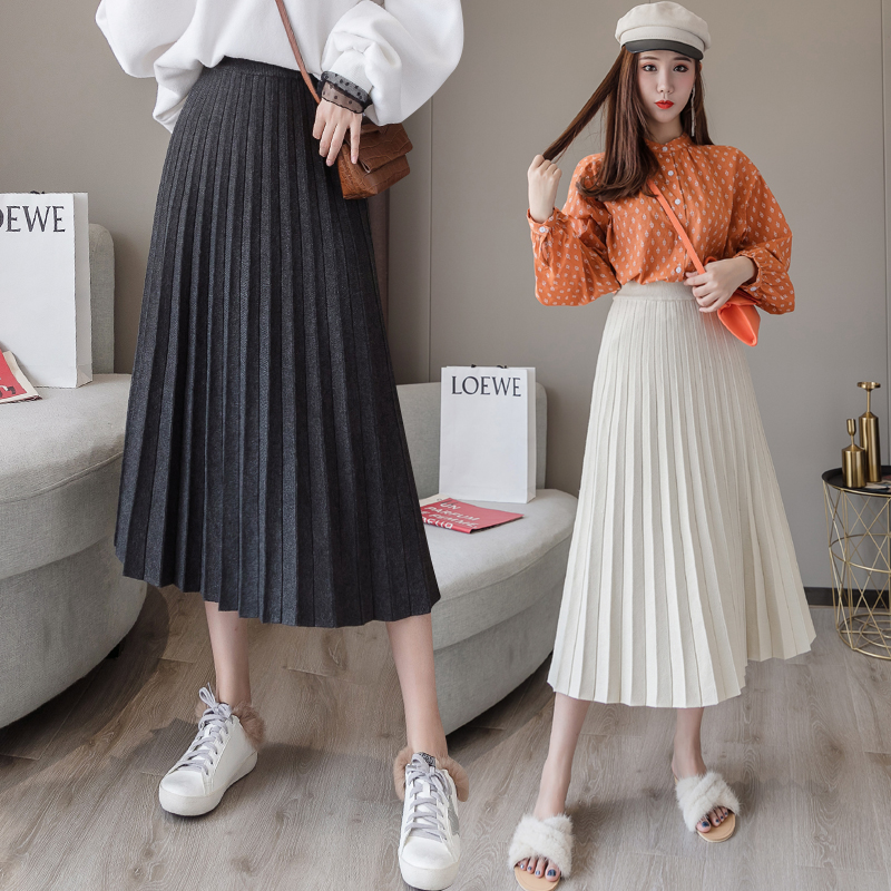 Winter Thicken Wool Skirts Bottoms Women Pleated Solid A-line Elegant Midi Knitted Skirt For Girls