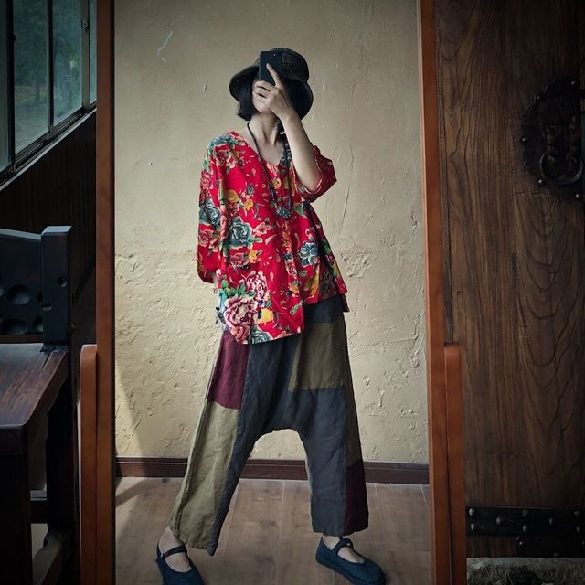 Women Loose Printed V Neck Irregular Length Blouse Tops Ladies Vintage Print Cotton Linen Tops Shirt Female 2020 Blouses 3