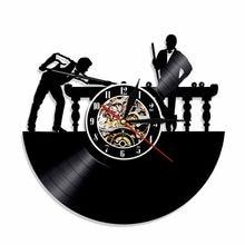 Biljart Vinyl Record Wandklok Zwembad Tafel Handgemaakte Tijd Klok Biljart Speler Led Verlichting Decoratieve Klokken