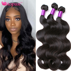 Aopusi Body Wave Brazilian Hair Weave Bundles 100% Human Hair Weave Long Bundles For Women Remy Human Hair Extensions 1/3/4/ pcs