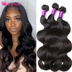 Aopusi волнистые пряди бразильских волос пряди человеческих волос пряди для Для женщин 100% Волосы Remy наращивания на заколках человеческие воло...