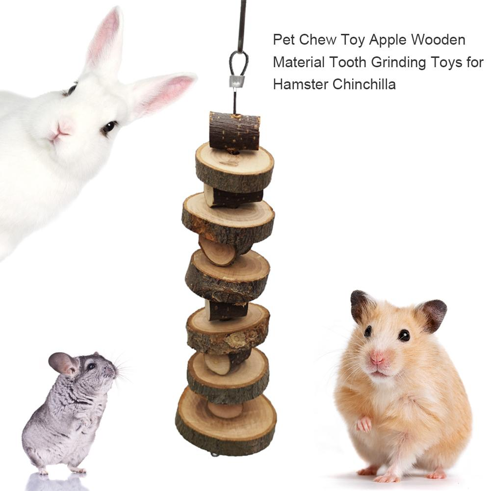 Pet Chew Toy Apple Wooden Material Tooth Grinding Toys For Hamster Chinchilla Small Animals Teeth Chewing Toys Cage Accessories