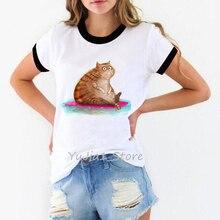 купить Cute fat cat print funny t shirts women roupas tumblr tshirt femme harajuku kawaii tops tee clothes summer camisas mujer t-shirt по цене 213.63 рублей