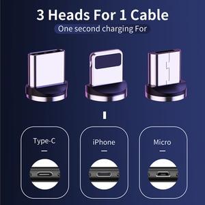 Image 4 - Cable de carga magnético LED para móvil, Cable Micro USB tipo C para iPhone XR, XS, MAX, X, 8, 7, 6, 6S Plus, 360