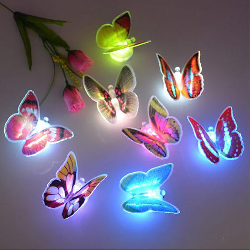 JUNEJOUR Creative Colorful Butterfly LED Night Light Beautiful Home Bedroom Decorative Wall Night Lights Color Random
