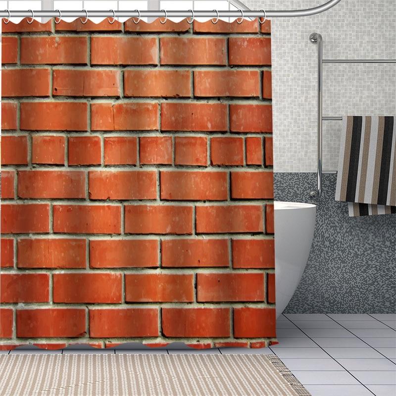 custom brick wall shower curtain waterproof bathroom curtain fabric shower sets drop shipping 1pc custom