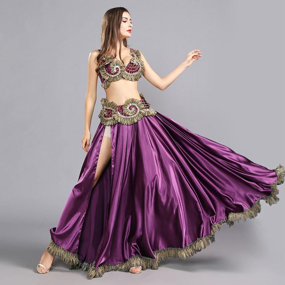 Tribal Belly Dance Clothes for Women 3 Pieces Outfit Set Beads Bra Belt Big Swing Skirts Gypsy Dance Performance Costume 119084