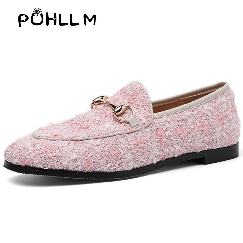 Image 2 - PUHLLM   Pink Falts Shoes Women 2019 Autumn Ladies Falts Shoes Lining sheepskin Round Toe  Fashion Women's Shoes slip ons  D19-in Women's Flats from Shoes