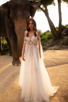 Simple New Ivory Wedding Dress 2020 A-Line Vestido de noiva Court Train Appliques Tulle Bride Gowns Gelinlik Robe de mariee