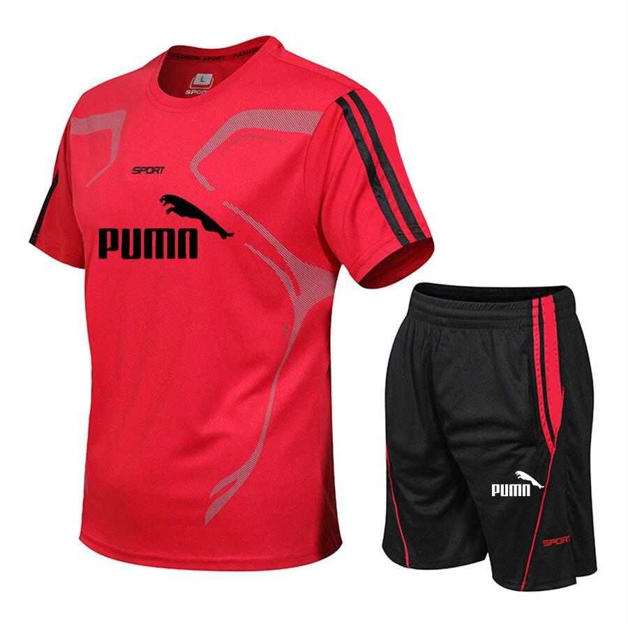 Brand men's sportswear suit short-sleeved sports shirt male running 2 piece suit football gym fitness man T-shirt + shorts set 1