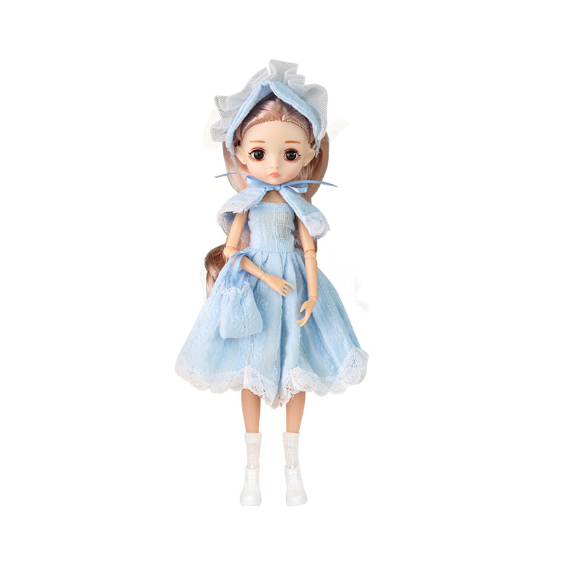 26cm 1/6 Bjd Doll With Clothes Blue 3D Eyes 11 Movable Joints Eyelashes Long Hair Wig Dress Up DIY Toy For Girls Fahsion Gift 7