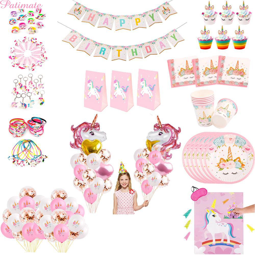 PATIMATE <font><b>Unicorn</b></font> Birthday Party <font><b>Decoration</b></font> <font><b>Unicorn</b></font> Balloons Baby Shower Girl <font><b>Unicorn</b></font> Party Supplies Kids Favors Unicornio Decor image