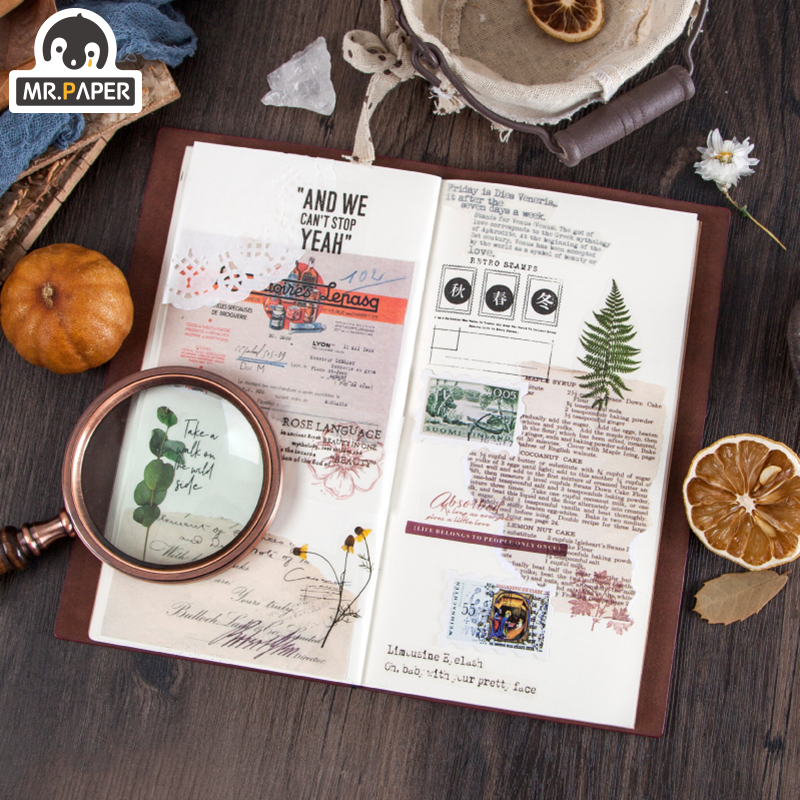 Mr.paper 50pcs/lot Vintage Plants Medieval Draft paper Card Journaling Bullet DIY Scrapbooking Material Card Retro LOMO Cards 4