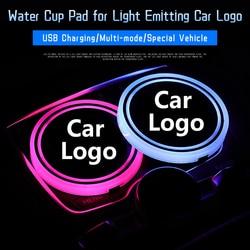 2 sztuk Logo samochodowe LED kolorowe wody mata na kubki światła Seat tapicerka akcesoria dla BMW Toyota dla Land Rover Audi Logo lampa dekoracyjna|Uchwyty do napojów|Samochody i motocykle -