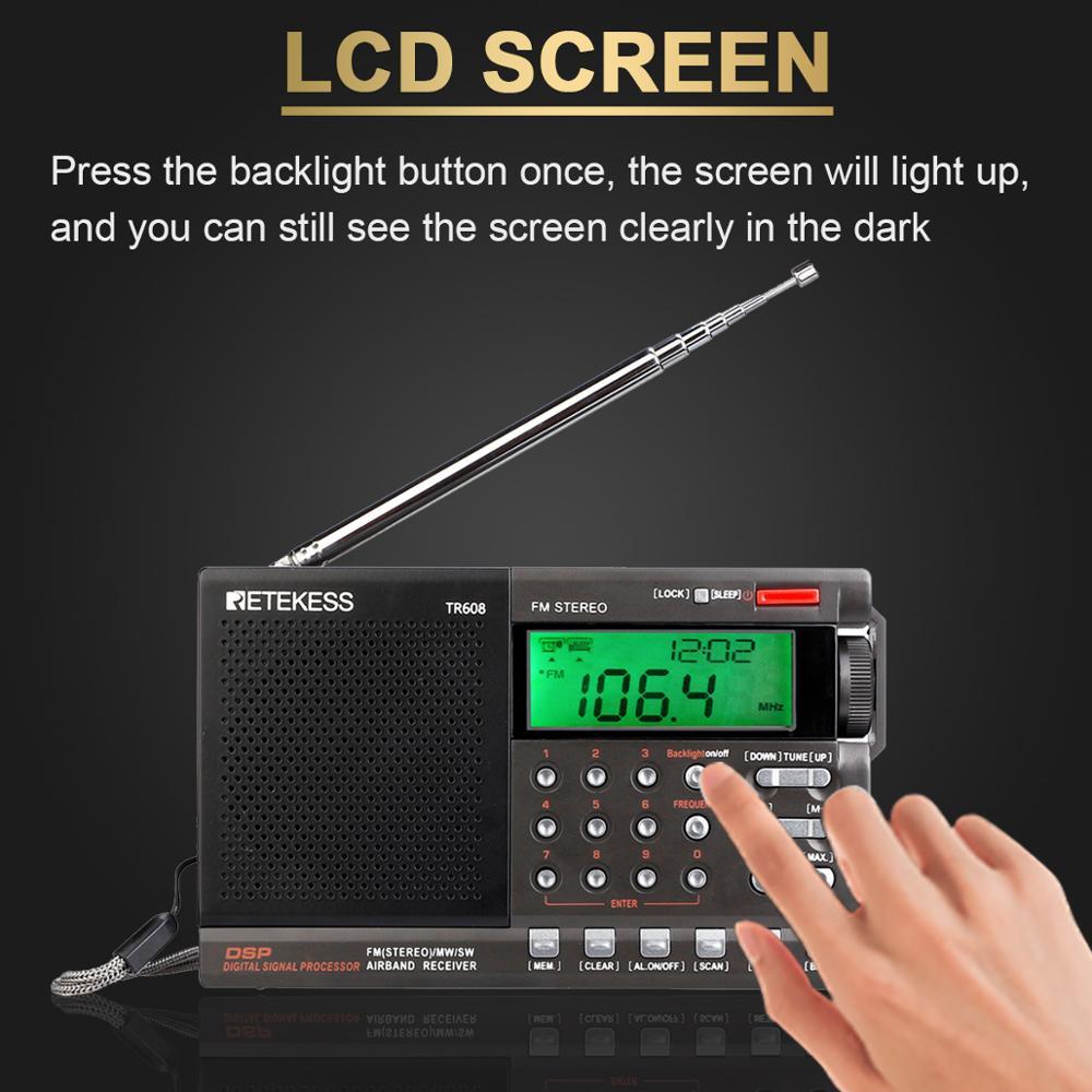 alarm clock Retekess TR608 FM / MW/ SW / Air Multi Band Radio Portable Digital Radio Speaker with LCD Display with Clock Alarm Sleep timer (4)