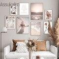 Плакат в скандинавском стиле, морской пейзаж, холст, печать растений, цветок, настенная живопись, модные настенные художественные фотографи...