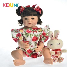 Hot Sale 22 inch Silicone Full Body Reborn Baby Doll Toy For Girl Princess Babies Wear Rose Romper Children Birthday Gift