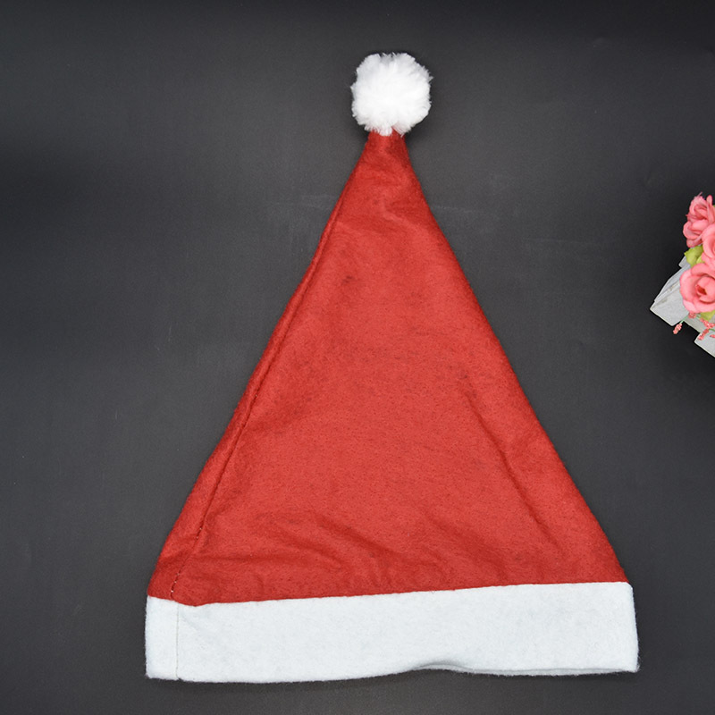 5PCS Christmas Hat Wholesale Children Holiday Cap Toy Santa Claus Chapeau Christmas Decorations Accessories Small Gifts Hairball