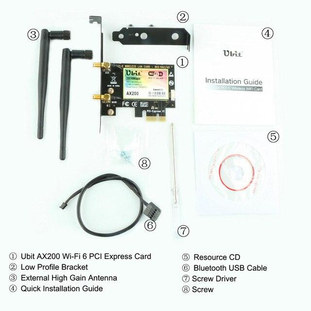 Ubit Bluetooth 5.0 | 2.4Gbps Pcie carte Wifi Gigabit double bande carte réseau Wifi 6 AX200 adaptateur sans fil pour pc de bureau Windows 4