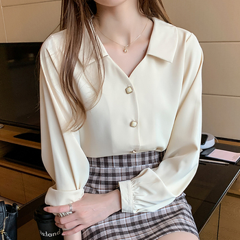 Shintimes White Office Lady Chiffon Blouse Long Sleeve Shirt Women Clothes 2020 Apricot Fashion Fall Womens Tops Chemisier Femme