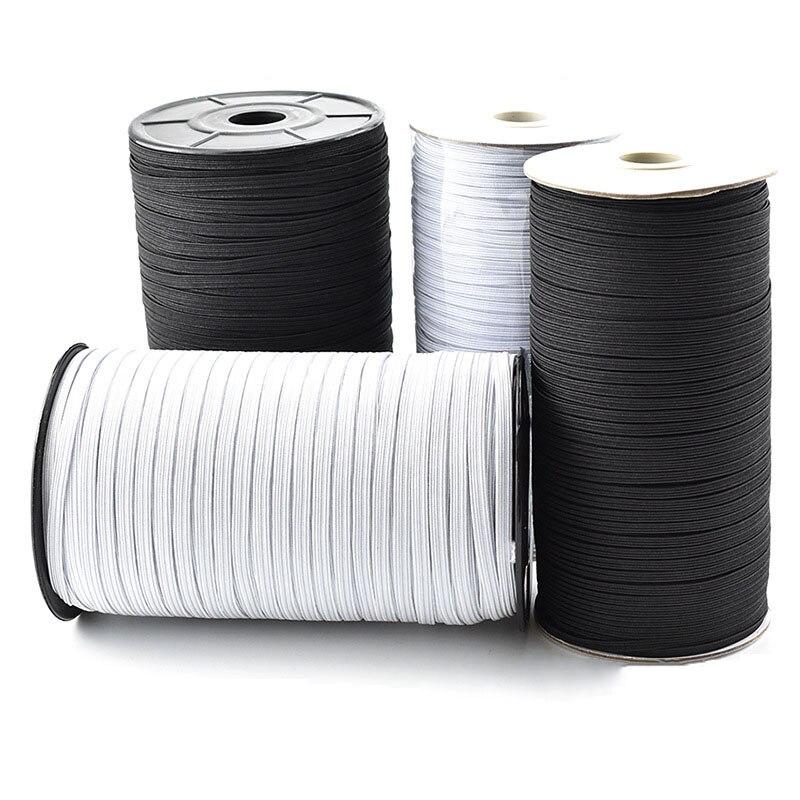 Nähen Elastische Bands Weiß und Schwarz 100 Meter 3/6mm Polyester Elastische Gummibänder Für Kleidung Garment Nähen zubehör DIY