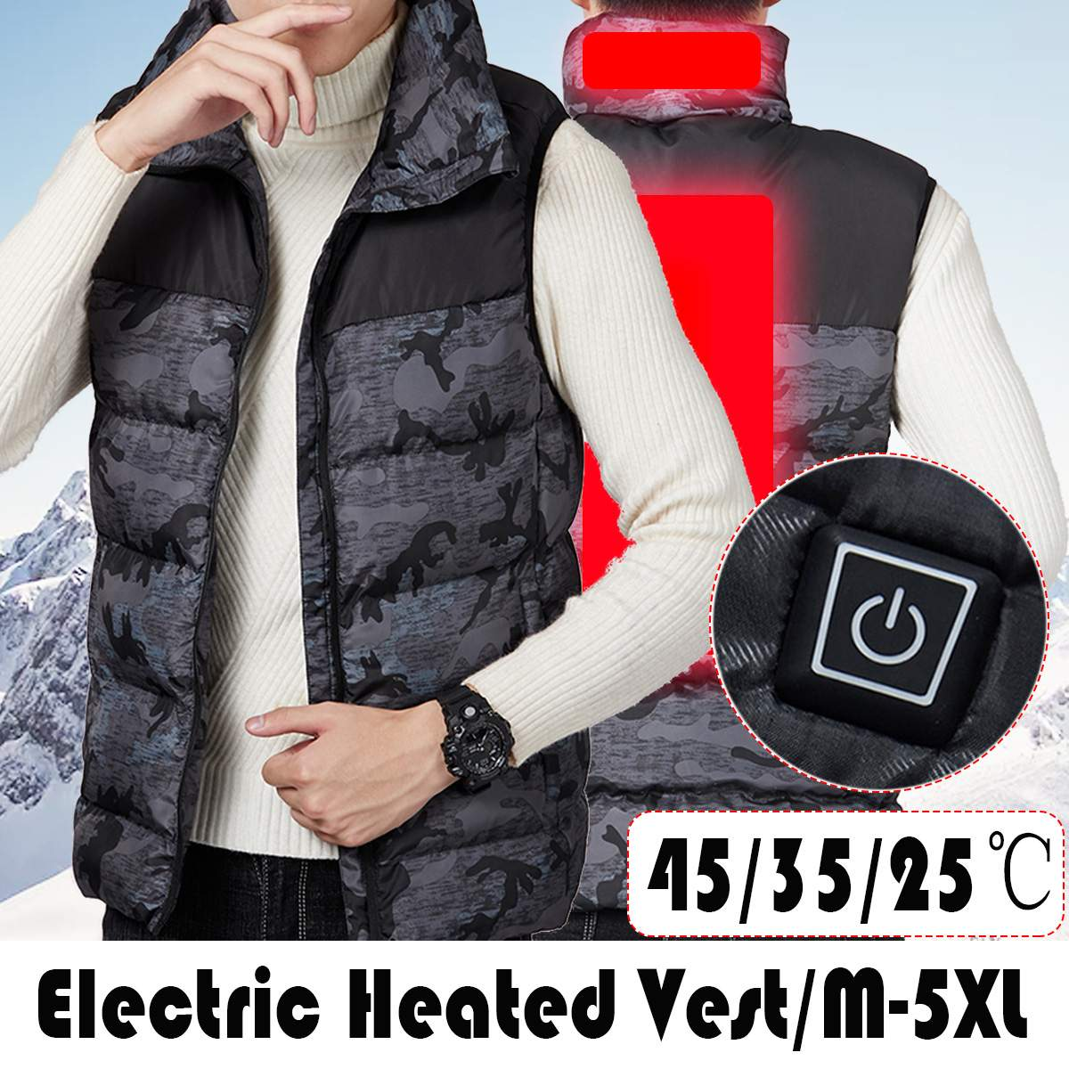 USB Electric Heater Thermostat Heated Vest Clothes Heating Mat Pad Adjustable Temperature Body Winter Warmer Mat For Men Women