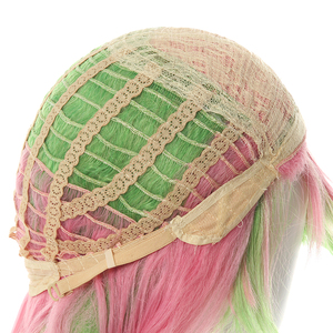 "Image 5 - L דוא""ל פאה קוטלת שד Kanroji Mitsuri קוספליי פאות Kimetsu לא Yaiba ארוך ורוד לערבב ירוק צמת פאת קוספליי סינטטי שיער"