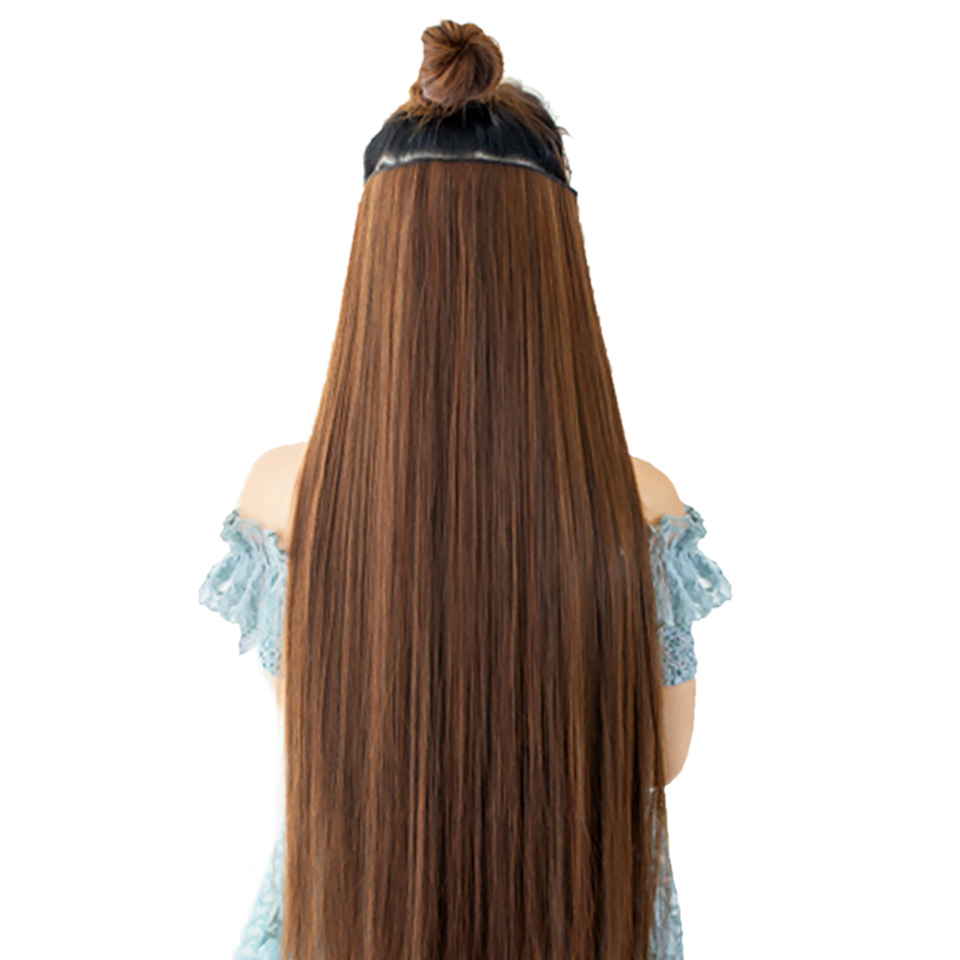 AOSIWIG 60cm Long Straight 5 Clip In One Pieces Hair Extension Heat Resistant Synthetic Natural Fake Hair Piece For Women