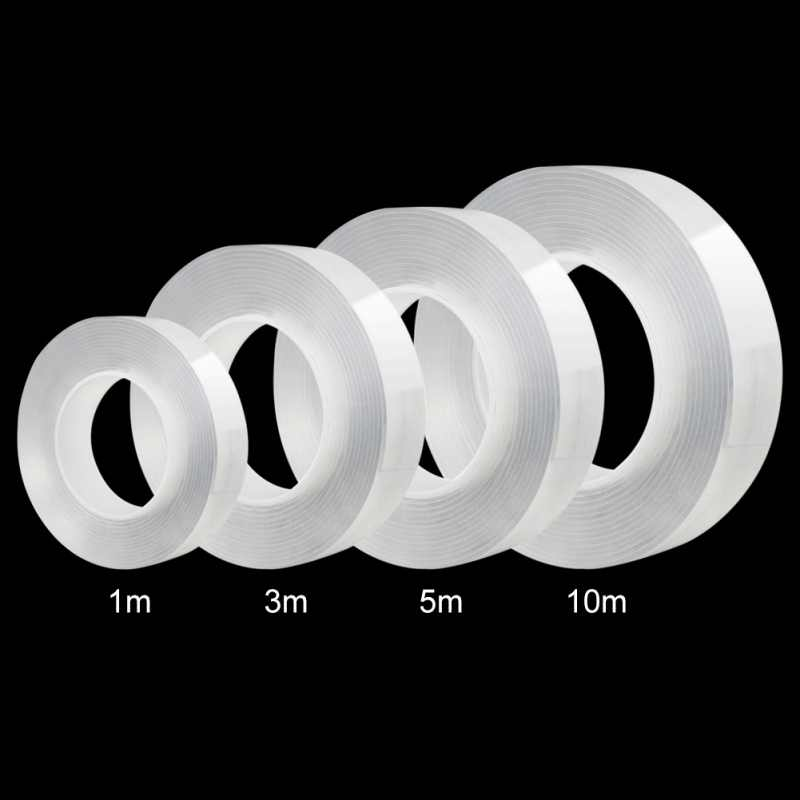 1M/10M Nano Magic Tape Double Sided Tape Transparent No Trace Acrylic Reuse Waterproof Adhesive Tape Cleanable Home Improvemen