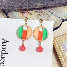 DREJEW Blue Green Contrast Color Round Statement Dangle Earrings 2019 925 Alloy Drop Earrings for Women Fashion Jewelry HE3161