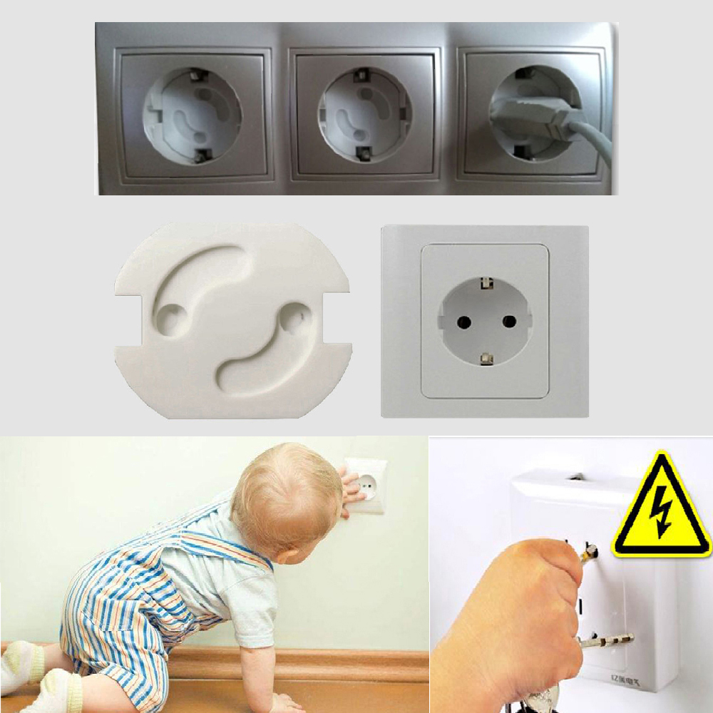 10Pcs Baby Safety Rotate Cover 2 Hole Round European Standard Socket Children Against Electric Protection Plastic Security Locks