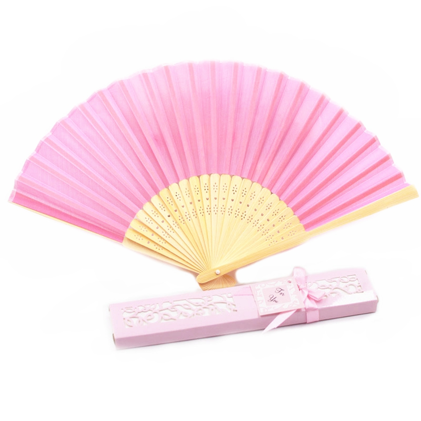 Wholesale 30PCS Personalized Folded Hand Silk Fans Wedding Favors Customized Folding Hand Fan Wedding Gifts For Guests