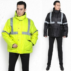 Safety Clothing Outdoor High Visibility Reflective Jacket Waterproof Rain Coat Warm Cotton Padded Work Wear Winter wadded coat