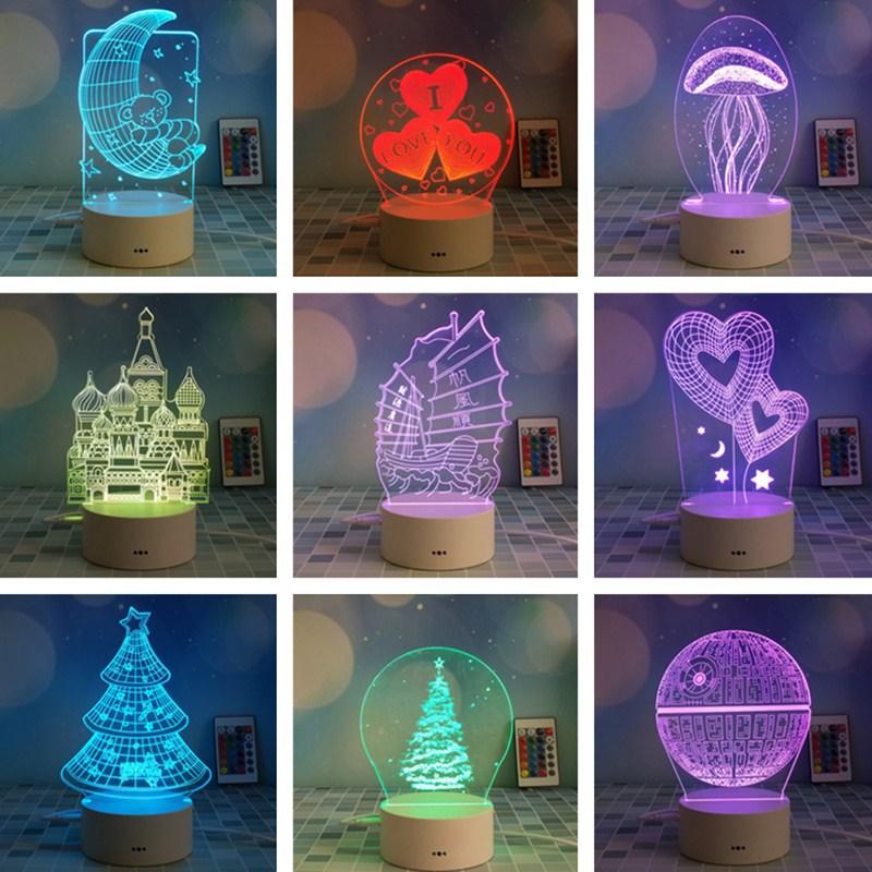 2020 New 3D Night Light Theme Mark Plastic Base 3D Novelty Lamp Game LED Sensor Night Light 7 Color Change Touch Mood Lamp