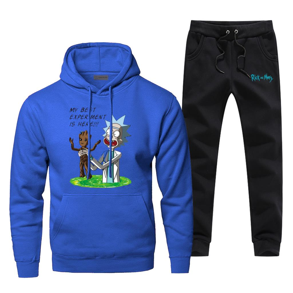 I Am Groot Men's Jogging Anime Rick And Morty Fashion Mens Full Suit Tracksuit Funny Fitness Gym Suit Winter Bodywarmer Male Set