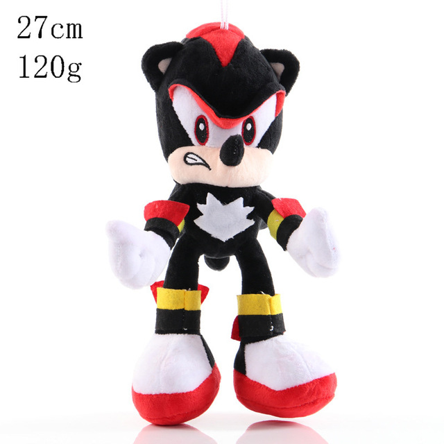 28cm Sonic Plush Doll Black Blue Yellow Hedgehog Soft Stuffed Toy Hot Game Shadow Knuckles Tails For Children Christmas Gifts