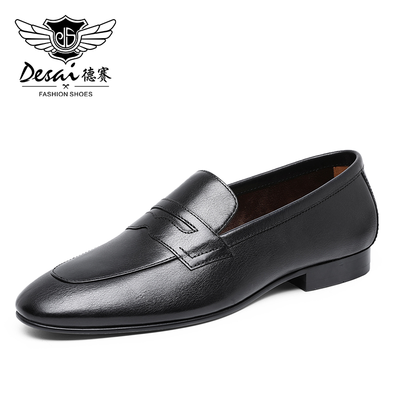 DESAI Luxury Loafers Men Shoes Top Quality Easy Wear Genuine Leather Fashion Casual Black Leader 2020