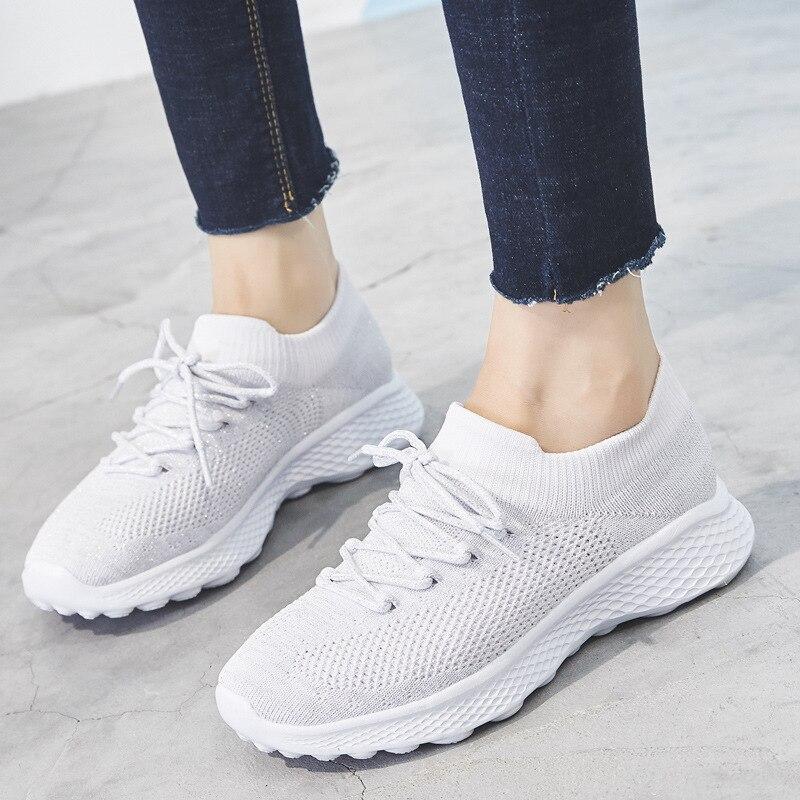 Купить кроссовки носки женские сетчатые дышащие плоская подошва повседневные