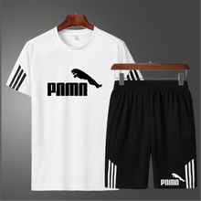 Men's sports suit printed casual suit o-neck breathable T-shirt + sports shorts men's running suit new fashion fitness suit