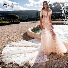 Optcely Vintage encantador vestido de novia 2019 sirena cuello redondo Champagne tren apliques cuentas salón princesa sueño Vestidos talla grande