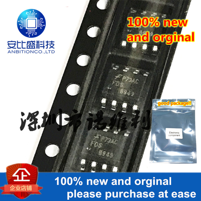 10pcs 100% New And Orginal FDS8949 8949 SOP-8 40V 6A Dual N-Channel Logic Level PowerTrench MOSFET In Stock