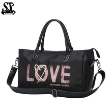купить Sequined LOVE Travel Bag Black PU And Nylon Tote Casual Crossbody Bag Hand Luggage Women Handbag Fashion Duffle Bag по цене 1543.7 рублей