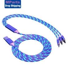 USB-кабель 3 в 1 со светодиодной подсветкой, Micro USB Тип C, быстрое зарядное устройство для iPhone XsMax 11ProMax Huawei Samsung Xiaomi, кабель