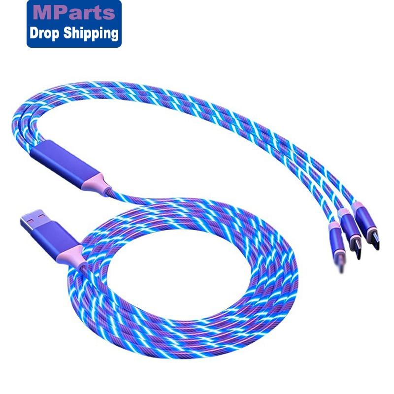 USB кабель 3 в 1 со светодиодной подсветкой, Micro USB Тип C, быстрое зарядное устройство для iPhone XsMax 11ProMax Huawei Samsung Xiaomi, кабель|Кабели для мобильных телефонов|   | АлиЭкспресс