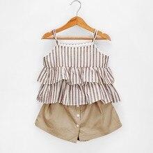 Комплект из 2 предметов для маленьких девочек, Baju От 1 до 5 лет Новинка, новейшие детские футболки + комплект с шортами Комплекты летней одежды...