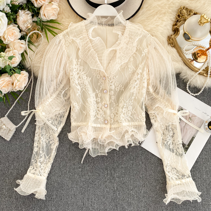 Women's Lace Shirt Top Spring Autumn Ladies Three-dimensional Ruffled Lace Shirt Top Temperament Net Red Puff Sleeve Top ML701