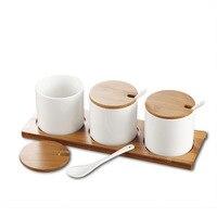 Kitchenware Creative Ceramic Spice Jar Bamboo Cover Set Spice Box Straight