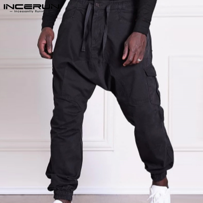 INCERUN Men's Baggy Cargo Pant Man Casual Joggers Trousers Male Army Green Overalls Male Loose Military Tactical Pants S-5XL